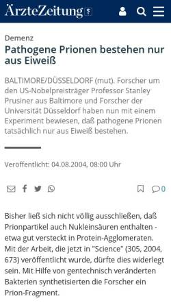 Vorschau der mobilen Webseite www.aerztezeitung.de, Pathogene Prionen bestehen nur aus Eiweiß