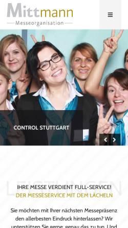 Vorschau der mobilen Webseite www.mittmann-messe.de, Mittmann Messeorganisation