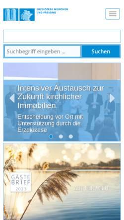 Vorschau der mobilen Webseite www.erzbistum-muenchen.de, München und Freising - Erzbistum