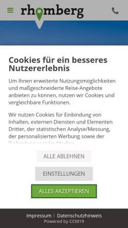 Vorschau der mobilen Webseite www.rhomberg-reisen.com, Rhomberg Reisen