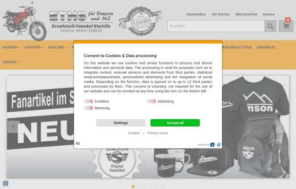 Vorschau von www.zweiradteile-shop.de, ETHS Ersatzteil Handel Stehlik, Inh. Daniel Stehlik