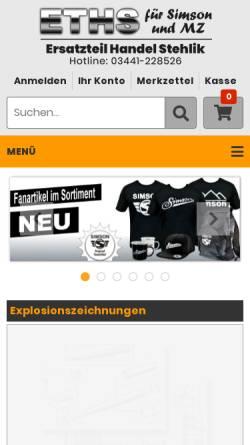 Vorschau der mobilen Webseite www.zweiradteile-shop.de, ETHS Ersatzteil Handel Stehlik, Inh. Daniel Stehlik