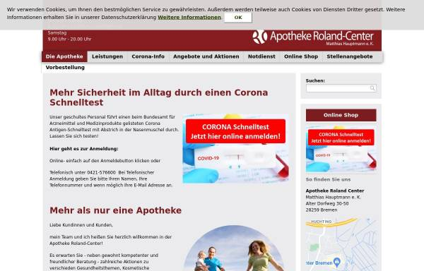 Vorschau von www.apotheke-roland-center.de, Apotheke Roland-Center