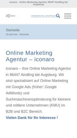 Vorschau der mobilen Webseite www.iconaro.de, iconaro - internet concepts, Gerhard Klügl