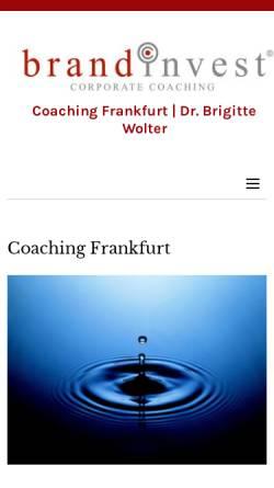 Vorschau der mobilen Webseite www.brandinvest.com, Brandinvest Corporate Coaching - Dr. Brigitte Wolter