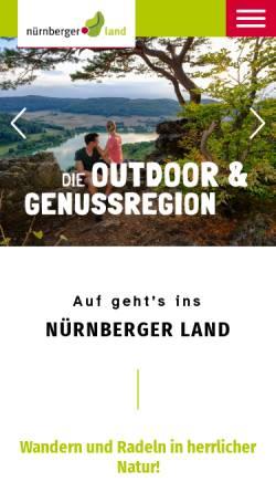 Vorschau der mobilen Webseite urlaub.nuernberger-land.de, Nürnberger Land Tourismus