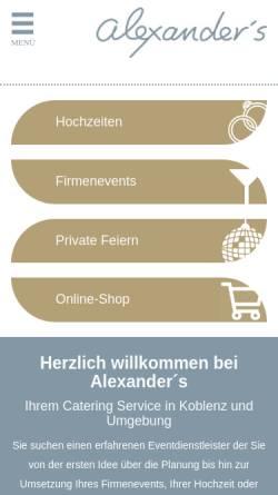 Vorschau der mobilen Webseite www.alexanders.de, Alexander's Catering - Alexander's Gastro GmbH