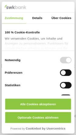 Vorschau der mobilen Webseite www.swkbank.de, Süd-West-Kreditbank Finanzierung GmbH