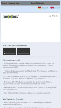 Vorschau der mobilen Webseite www.meebox.de, meebox GmbH