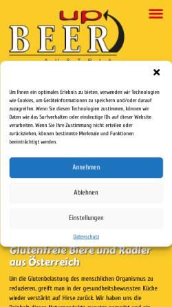 Vorschau der mobilen Webseite www.glutenfrei.at, BeerUp - Malt´n´more trading GmbH.