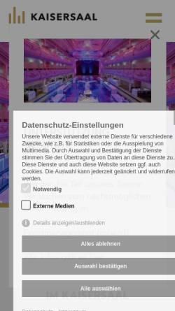 Vorschau der mobilen Webseite www.kaisersaal.de, Kaisersaal Gastronomie- und Veranstaltungs GmbH