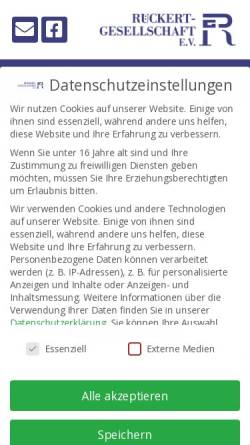 Vorschau der mobilen Webseite www.rueckert-gesellschaft.de, Rückert Gesellschaft e.V.