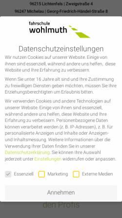 Vorschau der mobilen Webseite www.fahrschule-wohlmuth.de, Fahrschule Wohlmuth