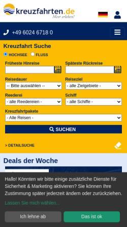 Vorschau der mobilen Webseite www.kreuzfahrten.de, Reisebüro Nees GmbH