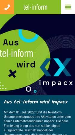Vorschau der mobilen Webseite www.tel-inform.de, Tel-inform customer-services GmbH