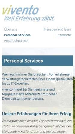 Vorschau der mobilen Webseite www.vivento-cs.de, Vivento Customer Services GmbH