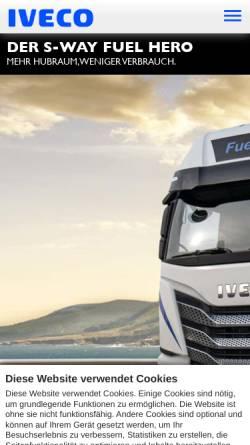 Vorschau der mobilen Webseite www.iveco.de, Iveco Magirus AG