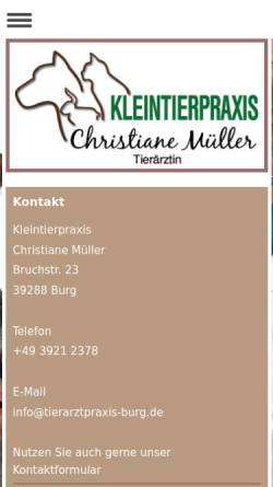 Vorschau der mobilen Webseite www.tierarztpraxis-burg.de, Dr. Sabine Müller – Fachtierärztin für Kleintiere.