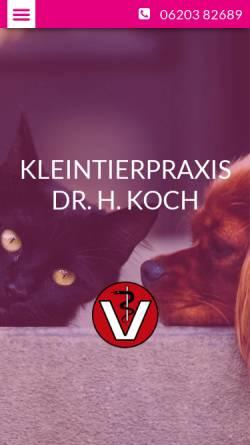 Vorschau der mobilen Webseite www.tierarzt-edingen-neckarhausen.de, Kleintierpraxis Dr. Koch