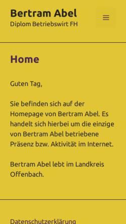 Vorschau der mobilen Webseite www.buero-abel.de, Buero:abel Unternehmensberatung - Inh. Bertram Abel, Dipl. Betriebswirt FH