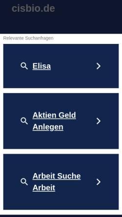 Vorschau der mobilen Webseite www.cisbio.de, Radiosynoviorthese