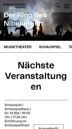 Vorschau der mobilen Webseite www.staatstheater-kassel.de, Kasseler Staatstheater
