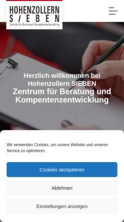 Vorschau der mobilen Webseite www.hohenzollern-7.de, Hohenzollern Sieben, Zentrum für Beratung und Kompetenzentwicklung