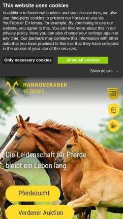 Vorschau der mobilen Webseite www.hannoveraner.com, Verband hannoverscher Warmblutzüchter e.V.
