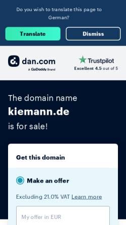 Vorschau der mobilen Webseite www.kiemann.de, Küferei Anton Kiemann