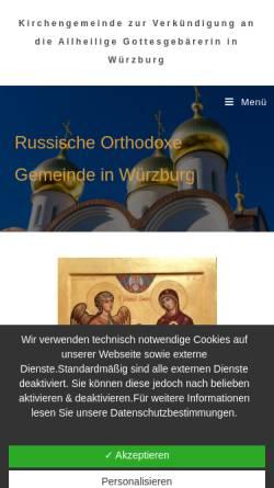 Vorschau der mobilen Webseite www.rok-wuerzburg.de, Kirchengemeinde zur Verkündigung an die allheilige Gottesgebärerin