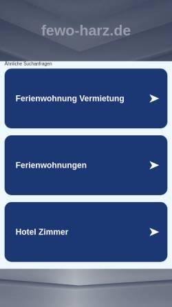 Vorschau der mobilen Webseite www.fewo-harz.de, FeWo-Harz.de