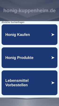 Vorschau der mobilen Webseite www.honig-kuppenheim.de, Honig aus eigener Imkerei