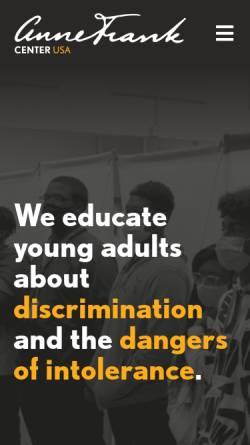 Vorschau der mobilen Webseite www.annefrank.com, Anne Frank Center USA