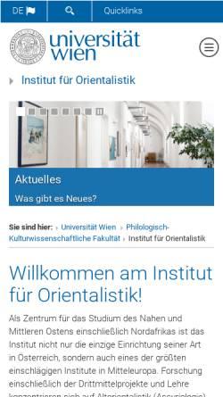 Vorschau der mobilen Webseite orientalistik.univie.ac.at, Institut für Orientalistik der Universität Wien