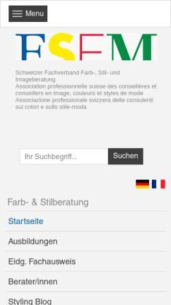 Vorschau der mobilen Webseite www.fsfm.ch, FSFM - Fachverband Schweizerische Farb- und Modestilberatung