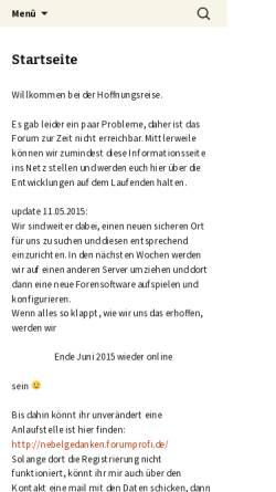 Vorschau der mobilen Webseite www.hoffnungsreise.de, Hoffnungsreise