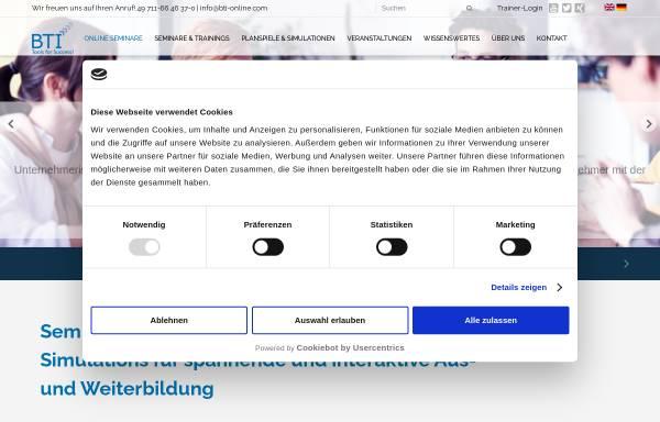 Vorschau von www.bti-online.com, BTI - Business Training International GmbH