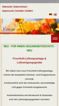 Vorschau der mobilen Webseite www.hotel-kress.de, Kress Hotel