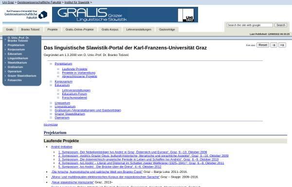 Vorschau von www-gewi.uni-graz.at, Gralis - Grazer linguistische Slawistik