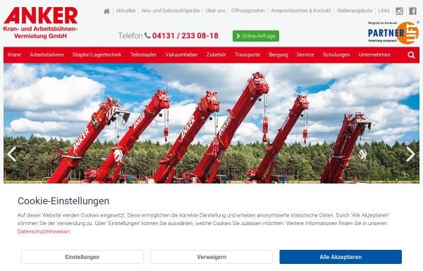 Vorschau von www.anker-lueneburg.de, Anker Kran- und Arbeitsbühnenvermietung GmbH