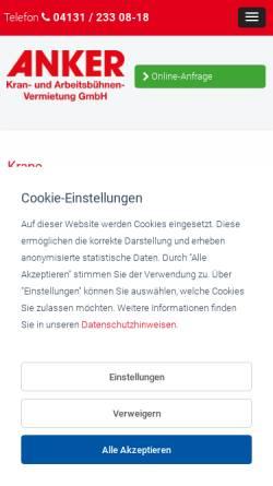Vorschau der mobilen Webseite www.anker-lueneburg.de, Anker Kran- und Arbeitsbühnenvermietung GmbH