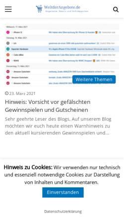 Vorschau der mobilen Webseite weltderangebote.de, Welt der Technik
