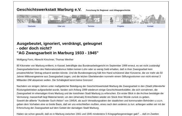 Vorschau von www.geschichtswerkstatt-marburg.de, Ausgebeutet, ignoriert, verdrängt, geleugnet - oder doch nicht?