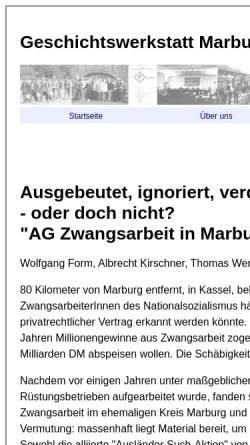Vorschau der mobilen Webseite www.geschichtswerkstatt-marburg.de, Ausgebeutet, ignoriert, verdrängt, geleugnet - oder doch nicht?