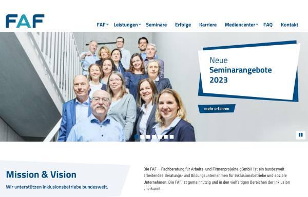 Vorschau von www.faf-gmbh.de, FAF Fachberatung für Arbeits- und Firmenprojekte gGmbH