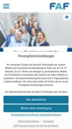 Vorschau der mobilen Webseite www.faf-gmbh.de, FAF Fachberatung für Arbeits- und Firmenprojekte gGmbH