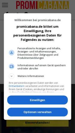 Vorschau der mobilen Webseite www.promicabana.de, Promicabana