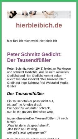 Vorschau der mobilen Webseite www.hierbleibich.de, hierbleibich.de