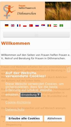 Vorschau der mobilen Webseite www.frauenberatung-dithmarschen.de, Frauen helfen Frauen