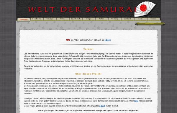 Vorschau von www.welt-der-samurai.de, Die Welt der Samurai